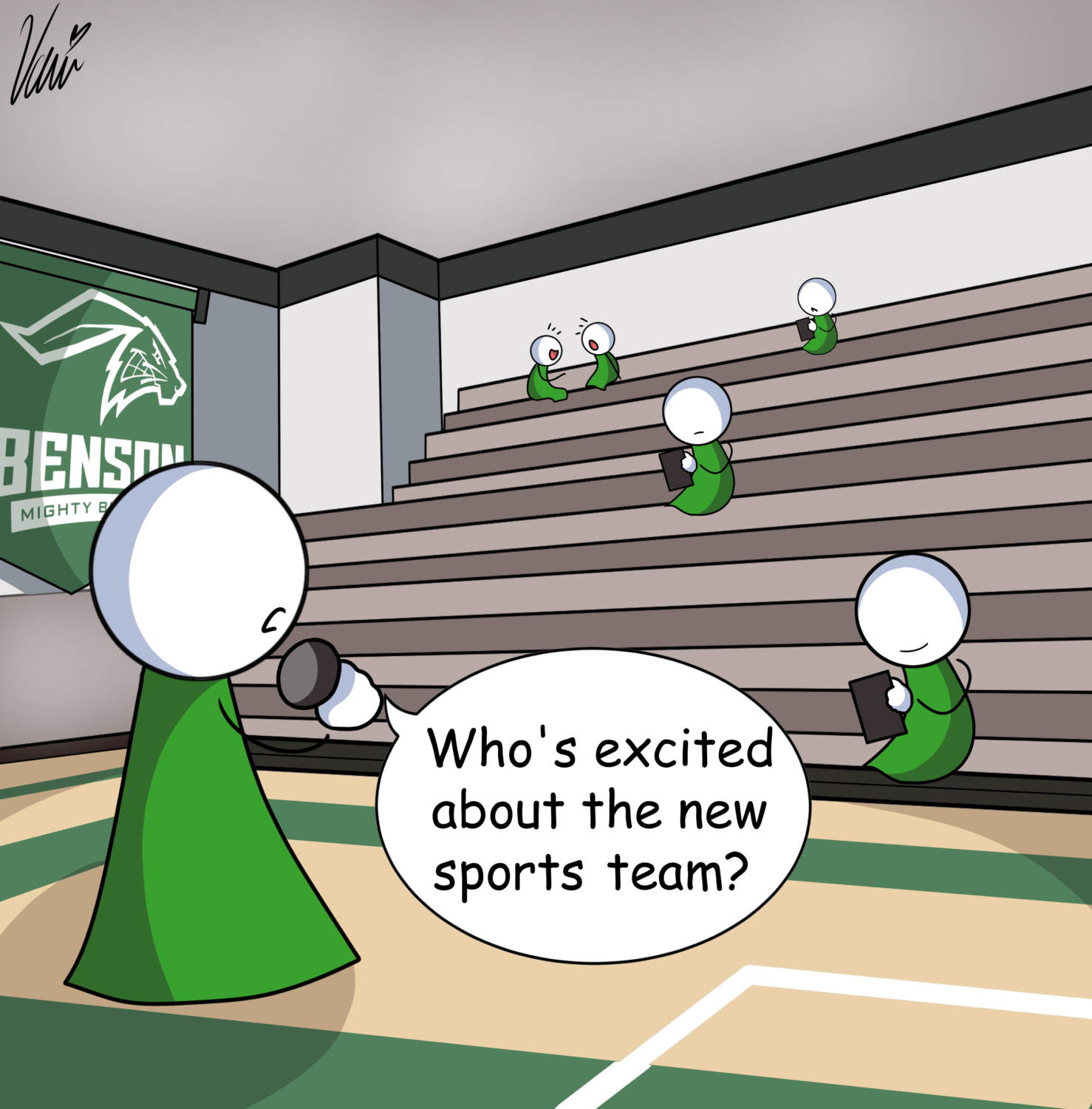Cartoon depicting student participation during assemblies.